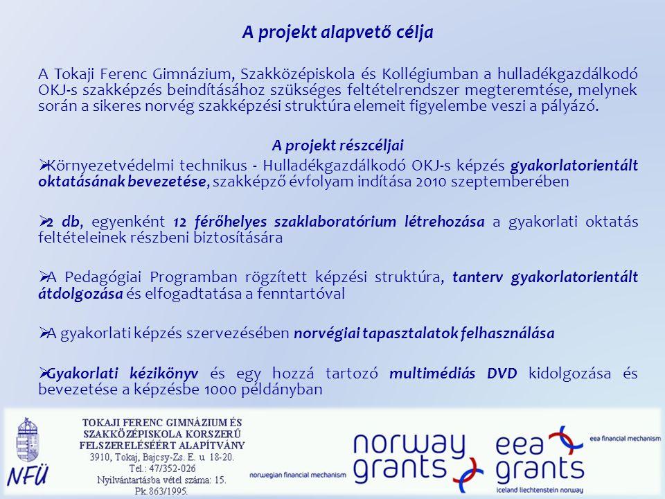 A projekt alapvető célja A Tokaji Ferenc Gimnázium, Szakközépiskola és Kollégiumban a hulladékgazdálkodó OKJ-s szakképzés beindításához szükséges felt