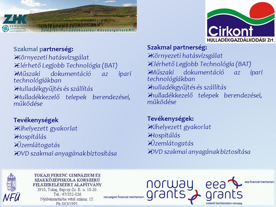Szakmai partnerség:  Környezeti hatásvizsgálat  Elérhető Legjobb Technológia (BAT)  Műszaki dokumentáció az ipari technológiákban  Hulladékgyűjtés