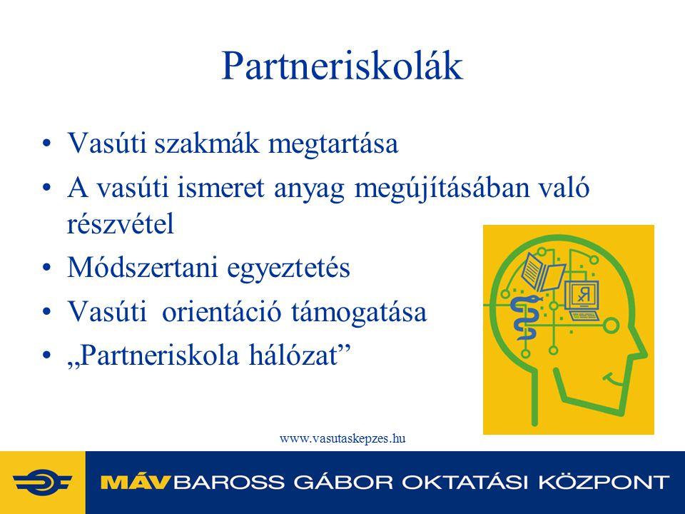 """www.vasutaskepzes.hu Partneriskolák Vasúti szakmák megtartása A vasúti ismeret anyag megújításában való részvétel Módszertani egyeztetés Vasúti orientáció támogatása """"Partneriskola hálózat"""