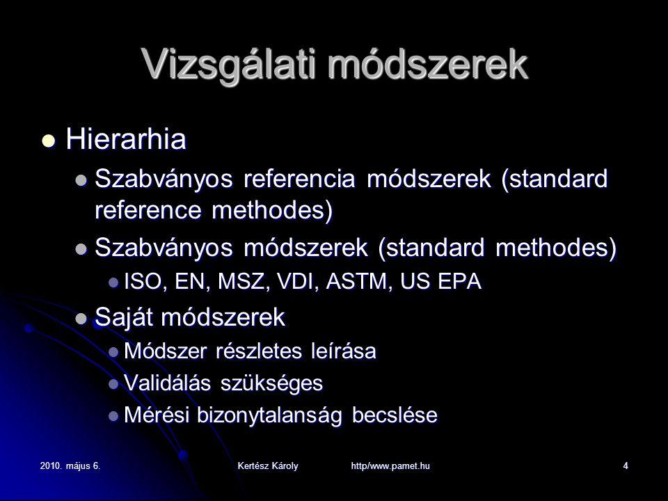 2010. május 6.Kertész Károly http/www.pamet.hu4 Vizsgálati módszerek Hierarhia Hierarhia Szabványos referencia módszerek (standard reference methodes)