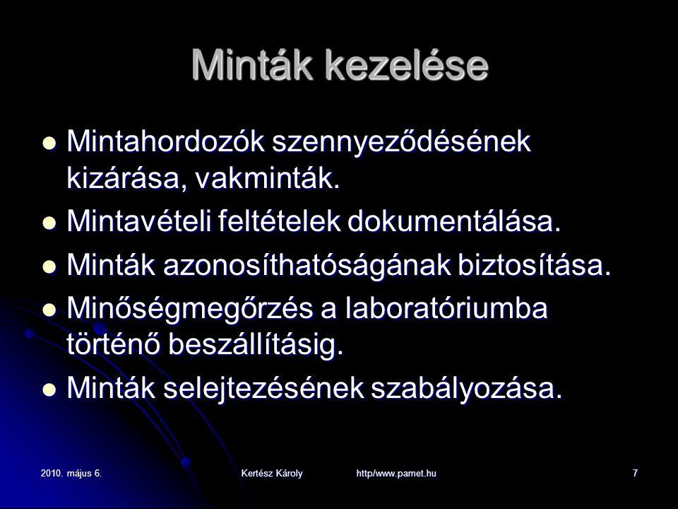 2010. május 6.Kertész Károly http/www.pamet.hu7 Minták kezelése Mintahordozók szennyeződésének kizárása, vakminták. Mintahordozók szennyeződésének kiz