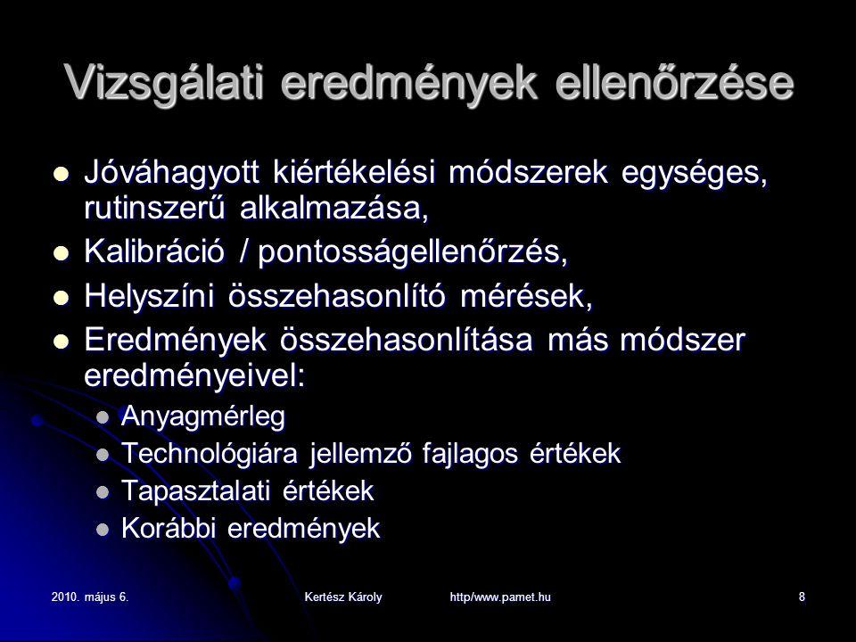 2010. május 6.Kertész Károly http/www.pamet.hu8 Vizsgálati eredmények ellenőrzése Jóváhagyott kiértékelési módszerek egységes, rutinszerű alkalmazása,
