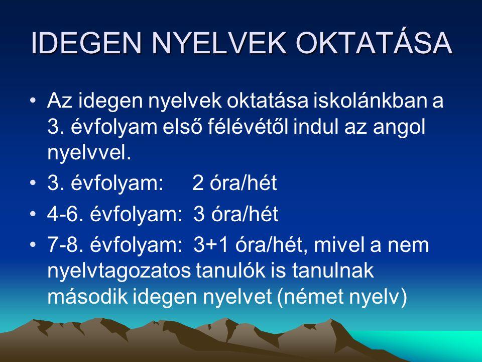 IDEGEN NYELVEK OKTATÁSA Az idegen nyelvek oktatása iskolánkban a 3. évfolyam első félévétől indul az angol nyelvvel. 3. évfolyam: 2 óra/hét 4-6. évfol