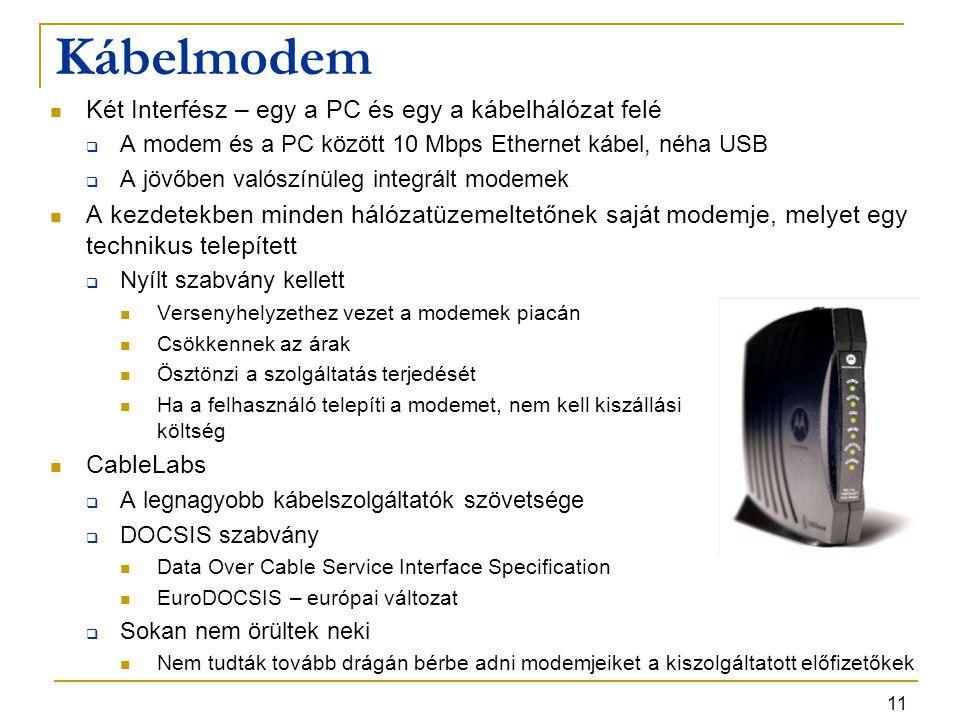11 Kábelmodem Két Interfész – egy a PC és egy a kábelhálózat felé  A modem és a PC között 10 Mbps Ethernet kábel, néha USB  A jövőben valószínüleg i