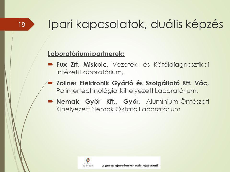 Ipari kapcsolatok, duális képzés Laboratóriumi partnerek:  Fux Zrt.
