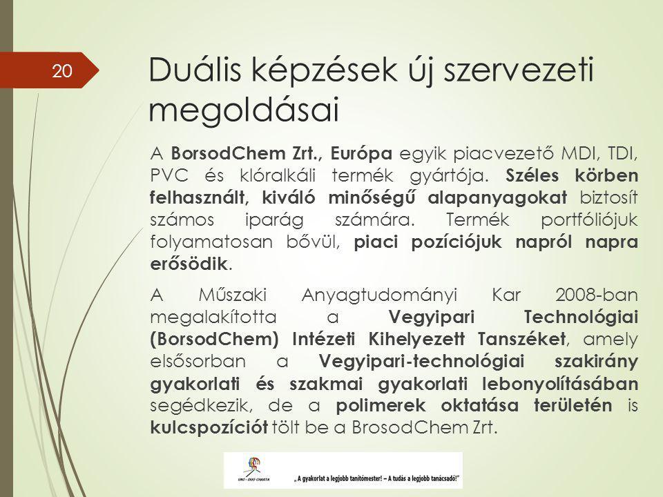 Duális képzések új szervezeti megoldásai A BorsodChem Zrt., Európa egyik piacvezető MDI, TDI, PVC és klóralkáli termék gyártója.