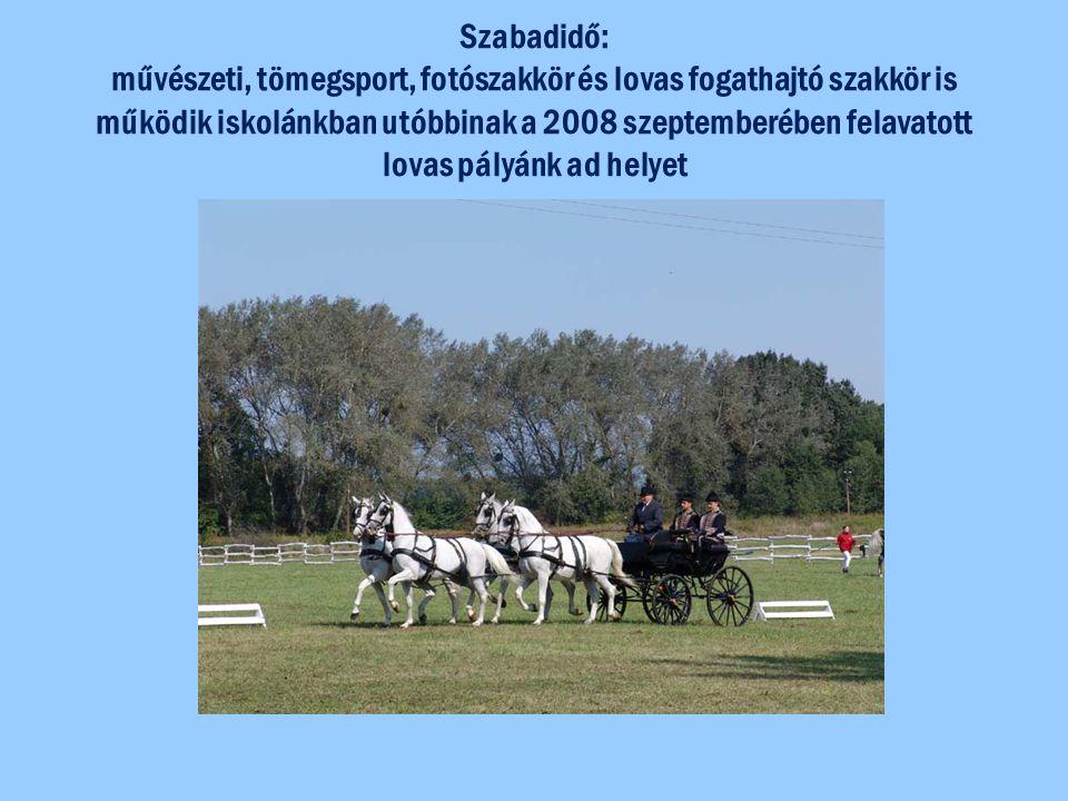 Szabadidő: művészeti, tömegsport, fotószakkör és lovas fogathajtó szakkör is működik iskolánkban utóbbinak a 2008 szeptemberében felavatott lovas pály