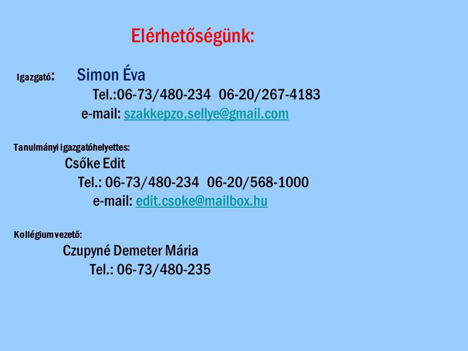 Elérhetőségünk: Igazgató : Simon Éva Tel.:06-73/480-234 06-20/267-4183 e-mail: szakkepzo.sellye@gmail.comszakkepzo.sellye@gmail.com Tanulmányi igazgat