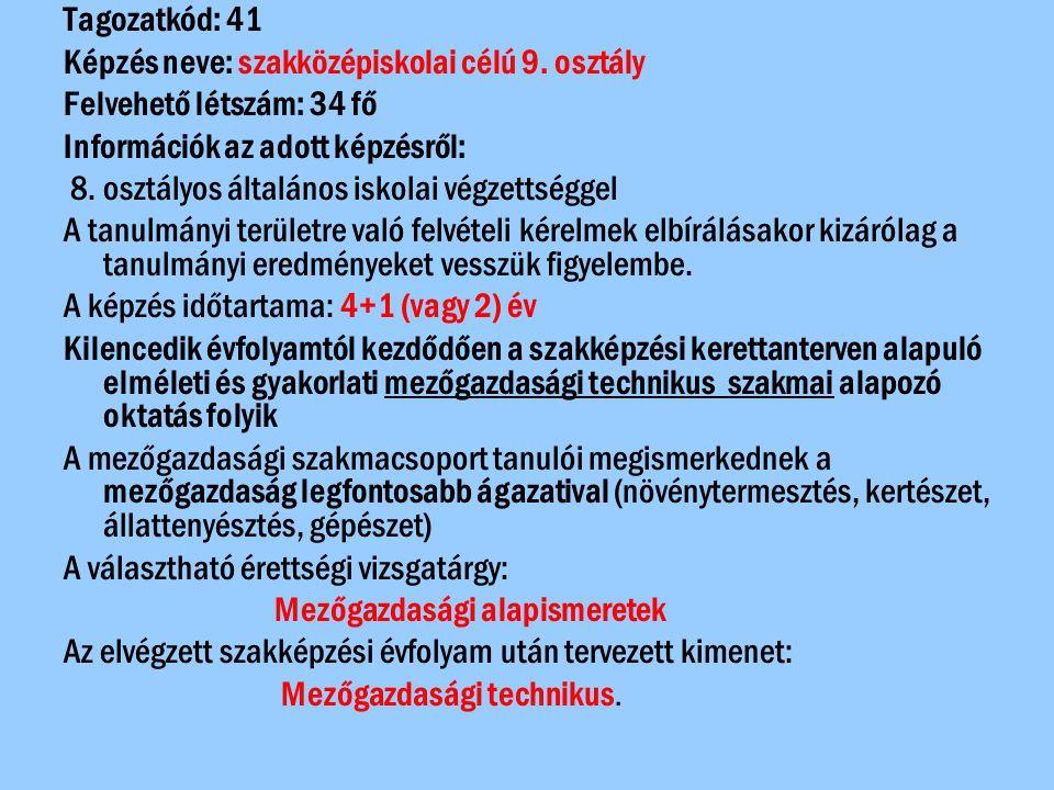 Tagozatkód: 42 Képzés neve: szakközépiskolai célú 9.