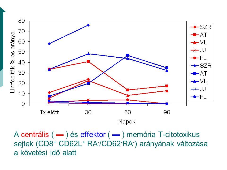 A centrális ( ▬ ) és effektor ( ▬ ) memória T-citotoxikus sejtek (CD8 + CD62L + RA - /CD62 - RA - ) arányának változása a követési idő alatt