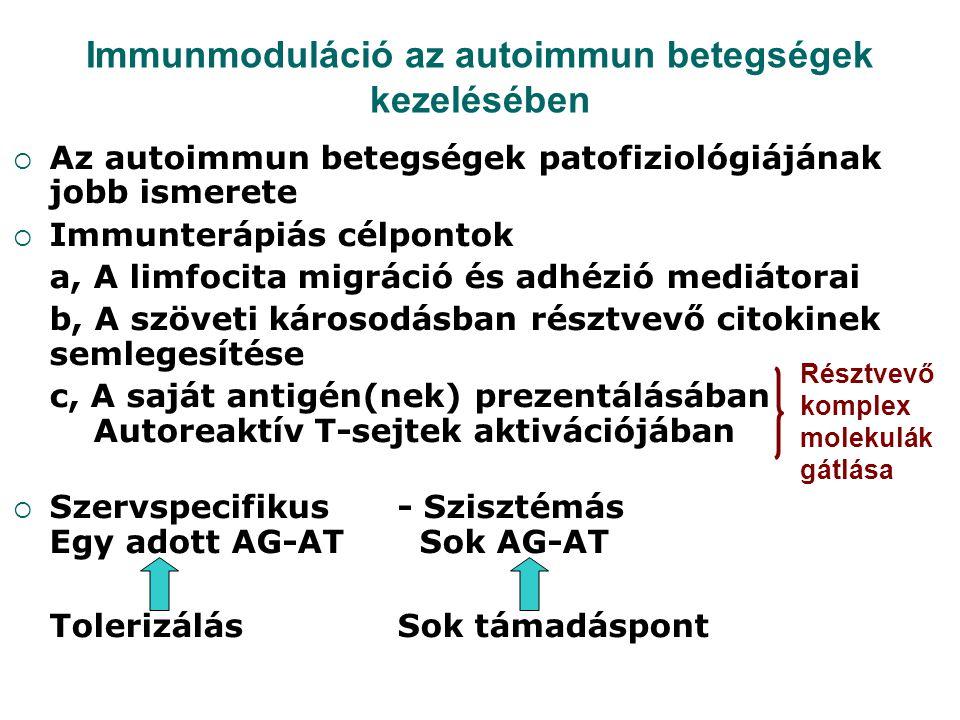 Immunmoduláció az autoimmun betegségek kezelésében  Az autoimmun betegségek patofiziológiájának jobb ismerete  Immunterápiás célpontok a, A limfocit