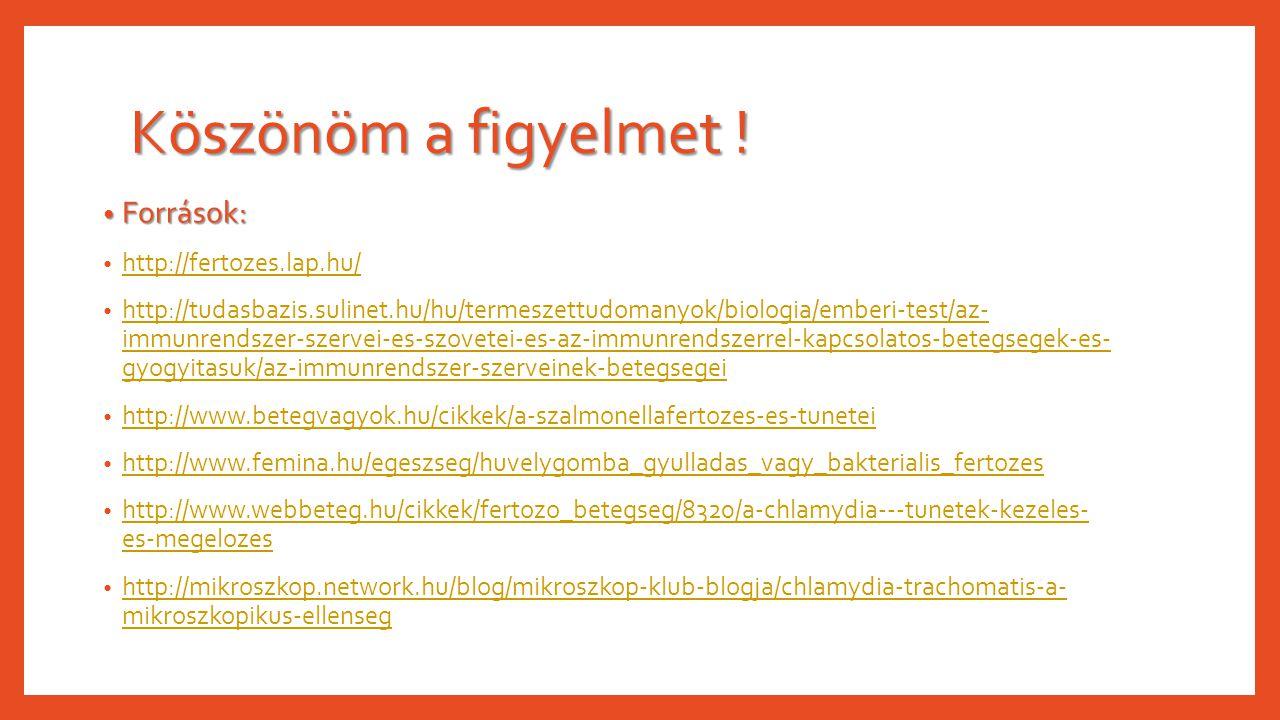Köszönöm a figyelmet ! Források: Források: http://fertozes.lap.hu/ http://tudasbazis.sulinet.hu/hu/termeszettudomanyok/biologia/emberi-test/az- immunr