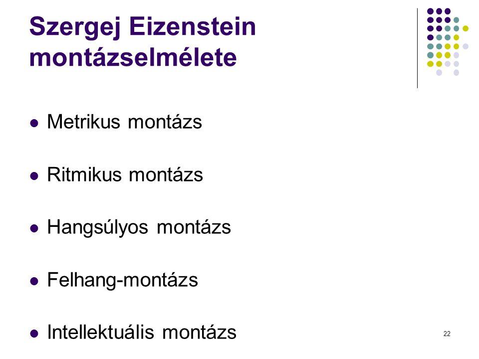 Szergej Eizenstein montázselmélete Metrikus montázs Ritmikus montázs Hangsúlyos montázs Felhang-montázs Intellektuális montázs 22
