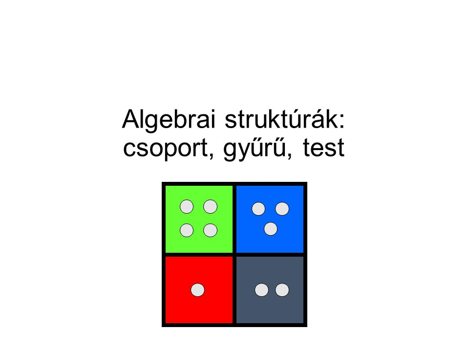  például bináris művelet Y SzN -en Definíció: bináris művelet a H halmazon egy függvény:  : H  H → H Példa: f:    →  f(x,y) = xy + y Bináris (kétváltozós) műveletek
