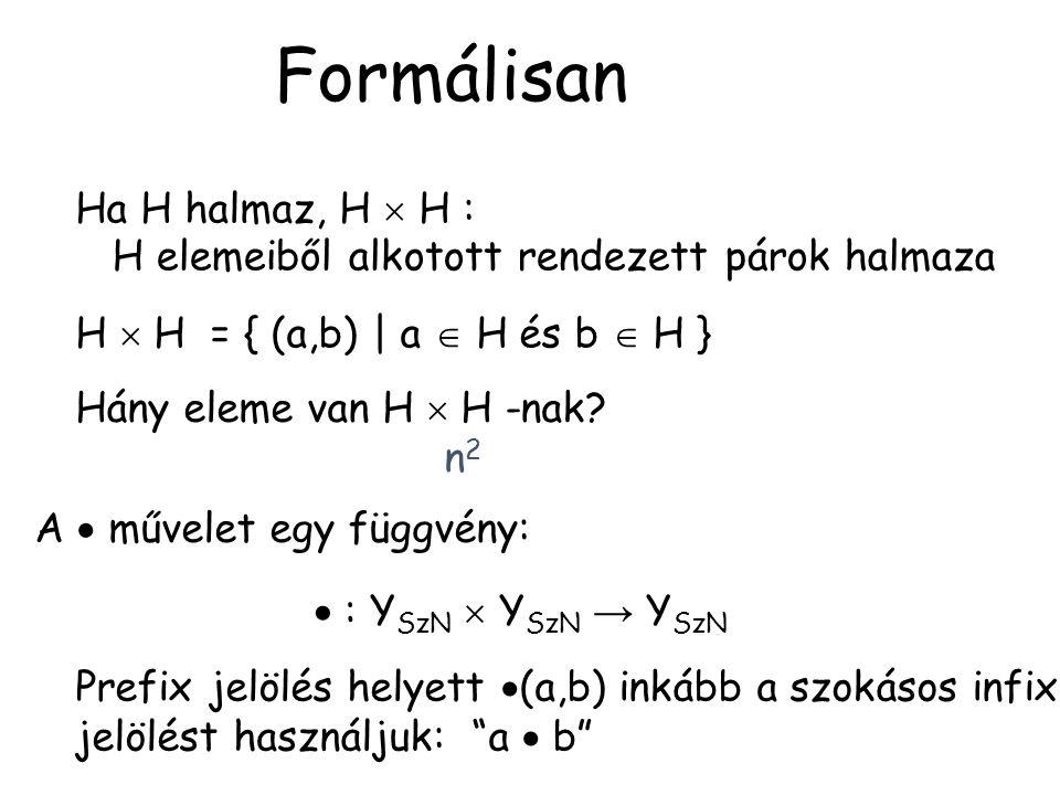 Formálisan Ha H halmaz, H  H : H elemeiből alkotott rendezett párok halmaza H  H = { (a,b) | a  H és b  H } Hány eleme van H  H -nak? n2n2 A  mű