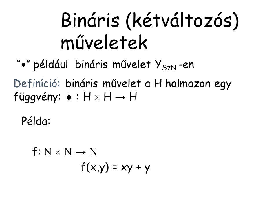"""""""  """" például bináris művelet Y SzN -en Definíció: bináris művelet a H halmazon egy függvény:  : H  H → H Példa: f:    →  f(x,y) = xy + y Binári"""