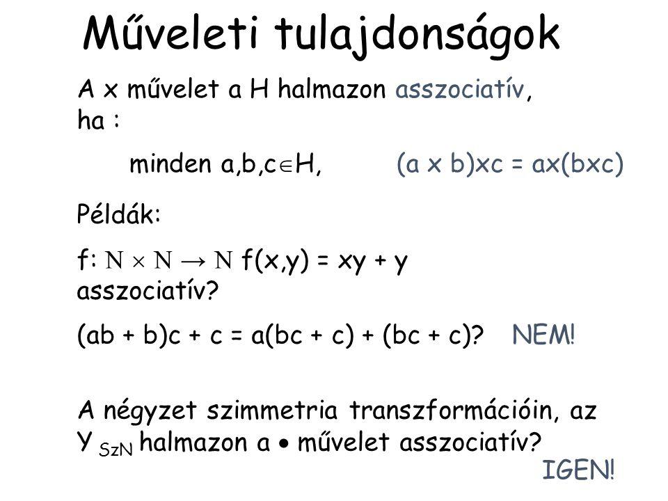 A négyzet szimmetria transzformációin, az Y SzN halmazon a  művelet asszociatív? A x művelet a H halmazon asszociatív, ha : minden a,b,c  H, (a x b)