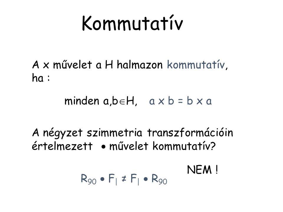 A x művelet a H halmazon kommutatív, ha : minden a,b  H, a x b = b x a Kommutatív A négyzet szimmetria transzformációin értelmezett  művelet kommuta