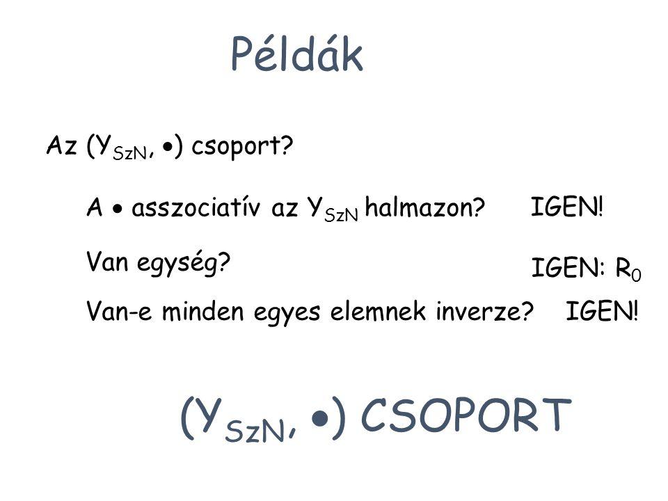 Példák Az (Y SzN,  ) csoport? A  asszociatív az Y SzN halmazon? IGEN! Van egység? IGEN: R 0 Van-e minden egyes elemnek inverze?IGEN! (Y SzN,  ) CSO