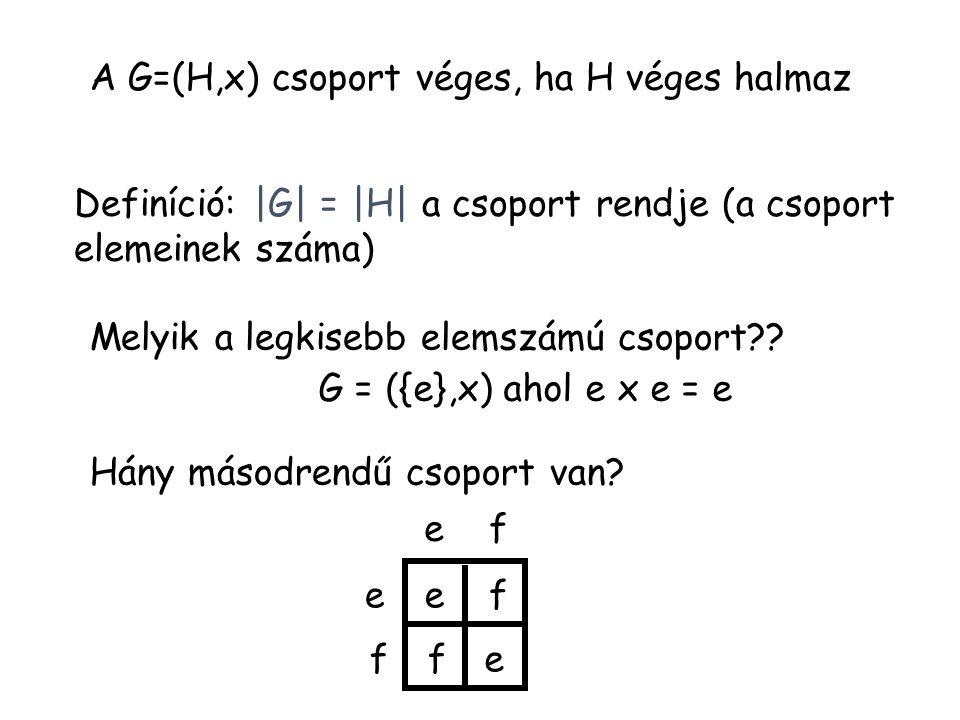 A G=(H,x) csoport véges, ha H véges halmaz Definíció: |G| = |H| a csoport rendje (a csoport elemeinek száma) Melyik a legkisebb elemszámú csoport?? Há