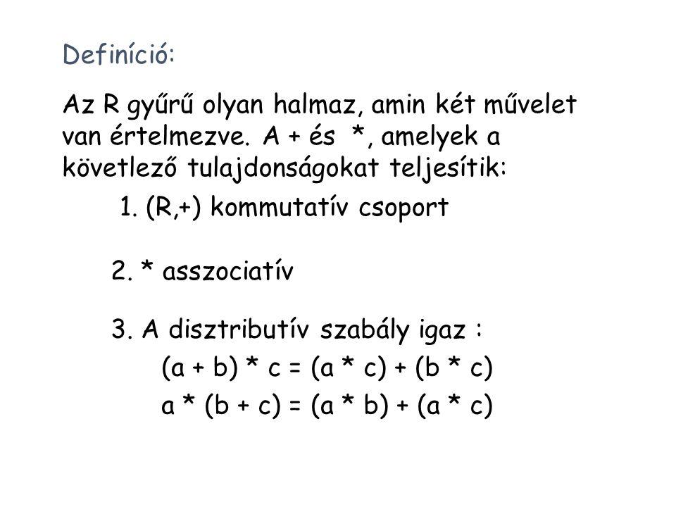 Definíció: Az R gyűrű olyan halmaz, amin két művelet van értelmezve. A + és *, amelyek a követlező tulajdonságokat teljesítik: 1. (R,+) kommutatív cso