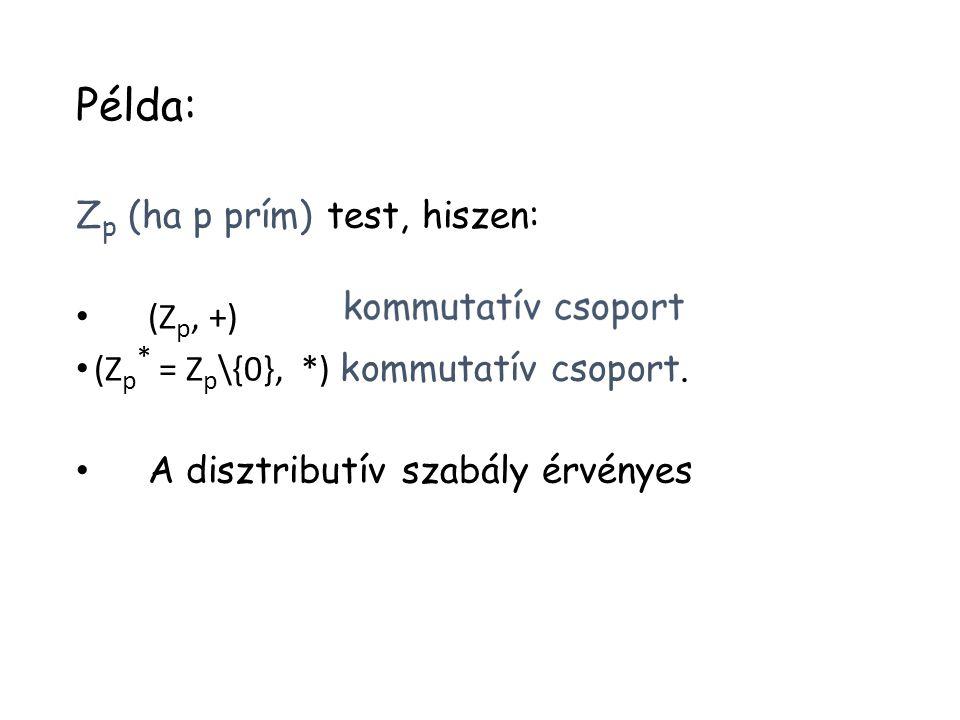 Példa: Z p (ha p prím) test, hiszen: (Z p, +) (Z p * = Z p \{0}, *) kommutatív csoport. A disztributív szabály érvényes