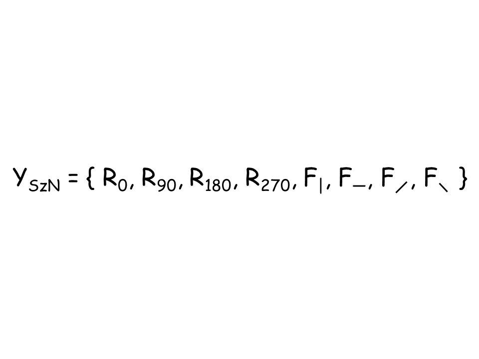 Y SzN = { R 0, R 90, R 180, R 270, F |, F —, F, F }
