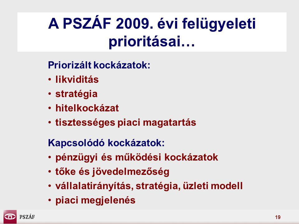 19 Priorizált kockázatok: likviditás stratégia hitelkockázat tisztességes piaci magatartás Kapcsolódó kockázatok: pénzügyi és működési kockázatok tőke és jövedelmezőség vállalatirányítás, stratégia, üzleti modell piaci megjelenés A PSZÁF 2009.