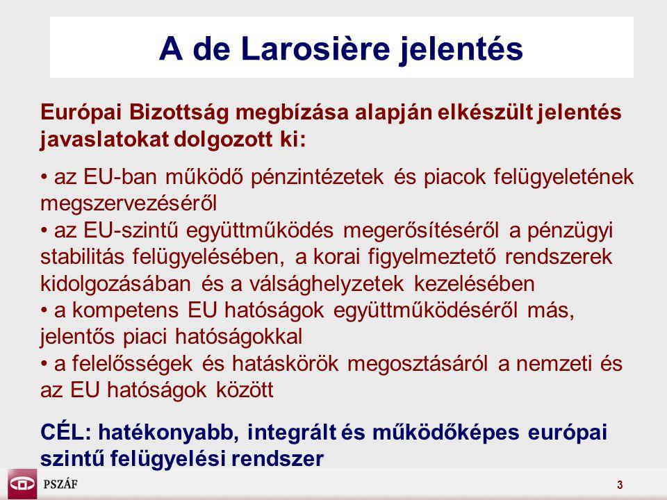 3 A de Larosière jelentés Európai Bizottság megbízása alapján elkészült jelentés javaslatokat dolgozott ki: az EU-ban működő pénzintézetek és piacok felügyeletének megszervezéséről az EU-szintű együttműködés megerősítéséről a pénzügyi stabilitás felügyelésében, a korai figyelmeztető rendszerek kidolgozásában és a válsághelyzetek kezelésében a kompetens EU hatóságok együttműködéséről más, jelentős piaci hatóságokkal a felelősségek és hatáskörök megosztásáról a nemzeti és az EU hatóságok között CÉL: hatékonyabb, integrált és működőképes európai szintű felügyelési rendszer