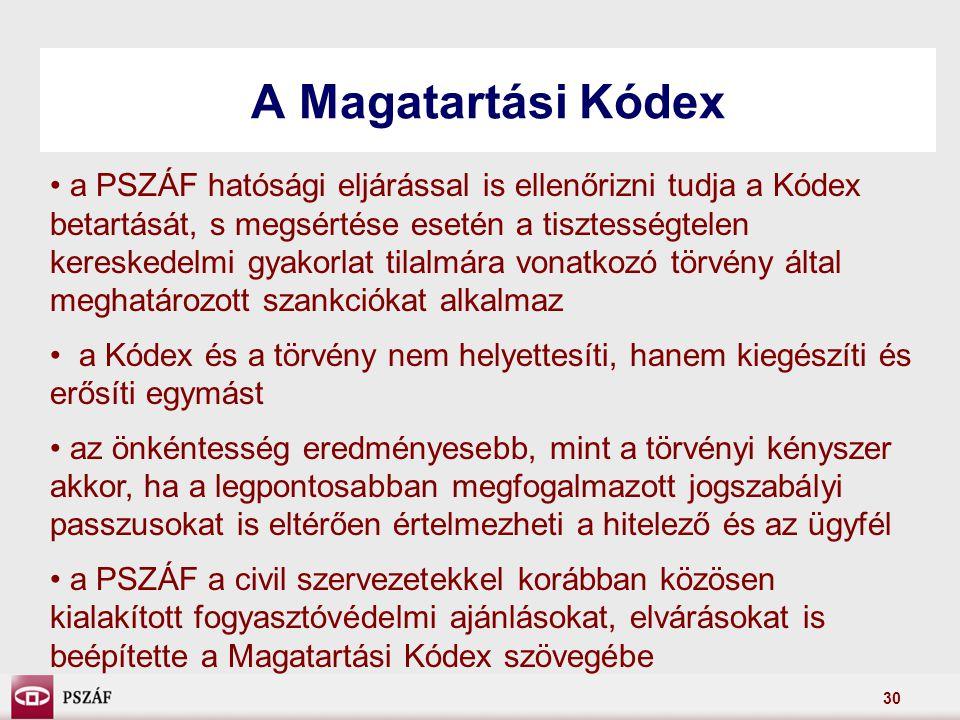 30 A Magatartási Kódex a PSZÁF hatósági eljárással is ellenőrizni tudja a Kódex betartását, s megsértése esetén a tisztességtelen kereskedelmi gyakorlat tilalmára vonatkozó törvény által meghatározott szankciókat alkalmaz a Kódex és a törvény nem helyettesíti, hanem kiegészíti és erősíti egymást az önkéntesség eredményesebb, mint a törvényi kényszer akkor, ha a legpontosabban megfogalmazott jogszabályi passzusokat is eltérően értelmezheti a hitelező és az ügyfél a PSZÁF a civil szervezetekkel korábban közösen kialakított fogyasztóvédelmi ajánlásokat, elvárásokat is beépítette a Magatartási Kódex szövegébe