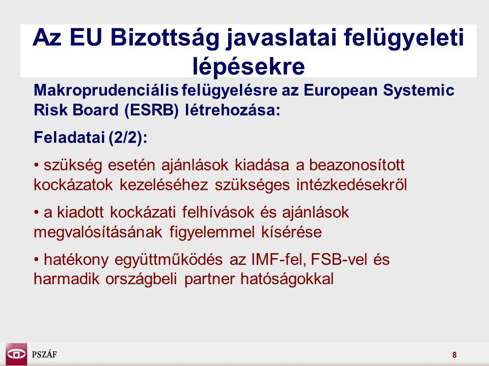8 Az EU Bizottság javaslatai felügyeleti lépésekre Makroprudenciális felügyelésre az European Systemic Risk Board (ESRB) létrehozása: Feladatai (2/2): szükség esetén ajánlások kiadása a beazonosított kockázatok kezeléséhez szükséges intézkedésekről a kiadott kockázati felhívások és ajánlások megvalósításának figyelemmel kísérése hatékony együttműködés az IMF-fel, FSB-vel és harmadik országbeli partner hatóságokkal