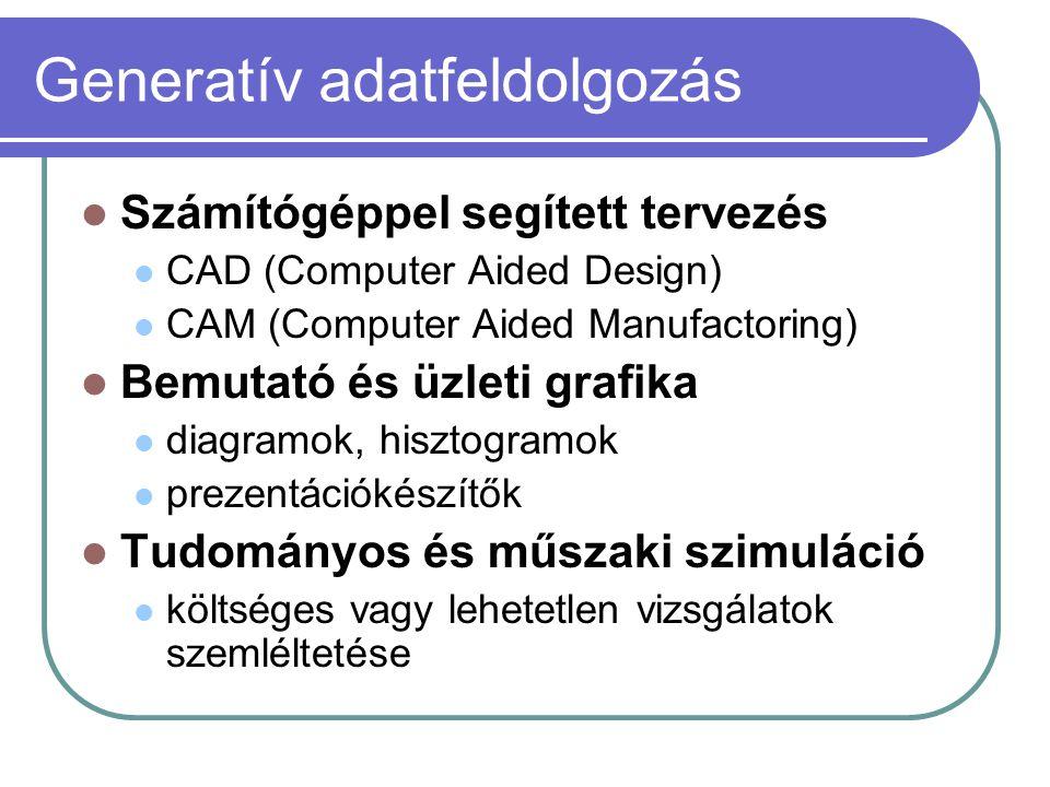 Generatív adatfeldolgozás Számítógéppel segített tervezés CAD (Computer Aided Design) CAM (Computer Aided Manufactoring) Bemutató és üzleti grafika diagramok, hisztogramok prezentációkészítők Tudományos és műszaki szimuláció költséges vagy lehetetlen vizsgálatok szemléltetése