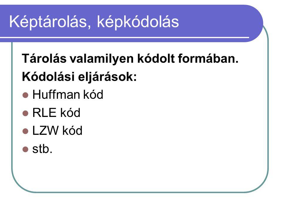 Képtárolás, képkódolás Tárolás valamilyen kódolt formában. Kódolási eljárások: Huffman kód RLE kód LZW kód stb.