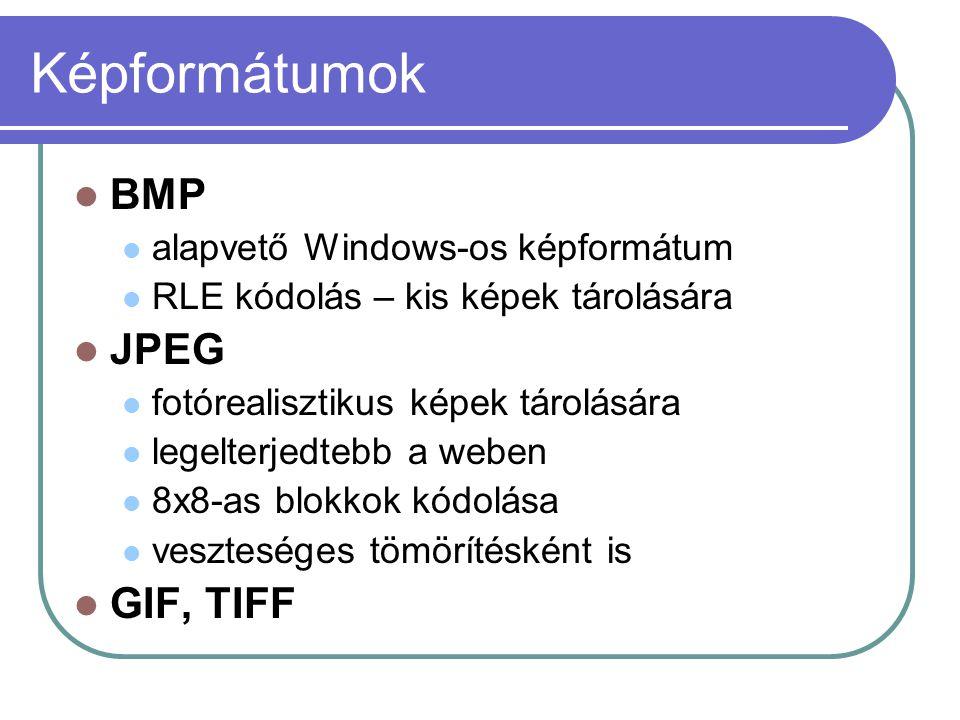 Képformátumok BMP alapvető Windows-os képformátum RLE kódolás – kis képek tárolására JPEG fotórealisztikus képek tárolására legelterjedtebb a weben 8x8-as blokkok kódolása veszteséges tömörítésként is GIF, TIFF