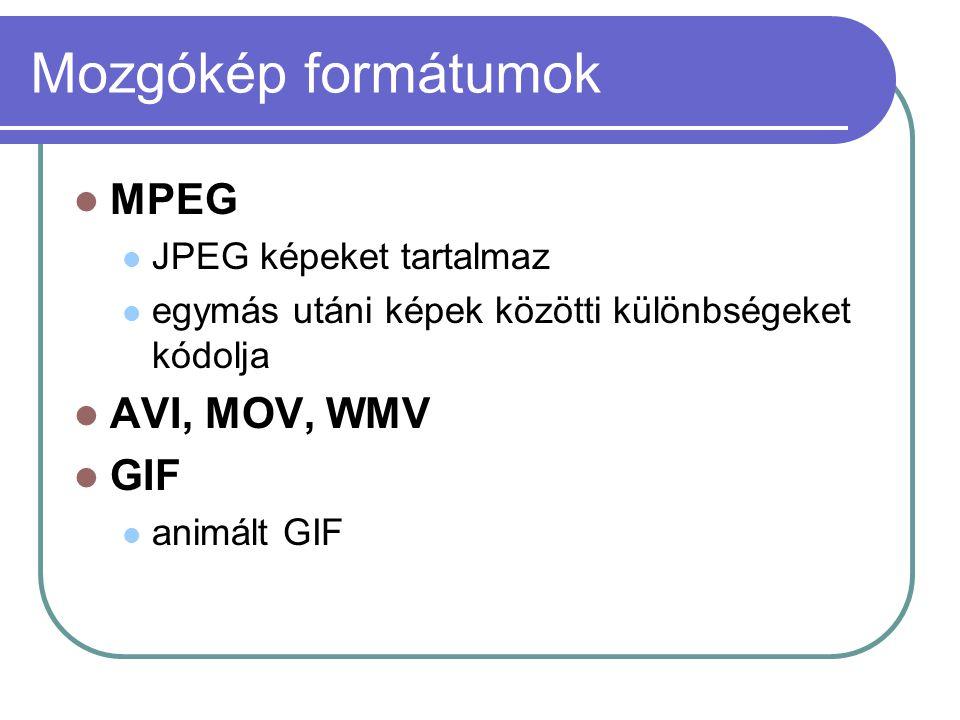 Mozgókép formátumok MPEG JPEG képeket tartalmaz egymás utáni képek közötti különbségeket kódolja AVI, MOV, WMV GIF animált GIF