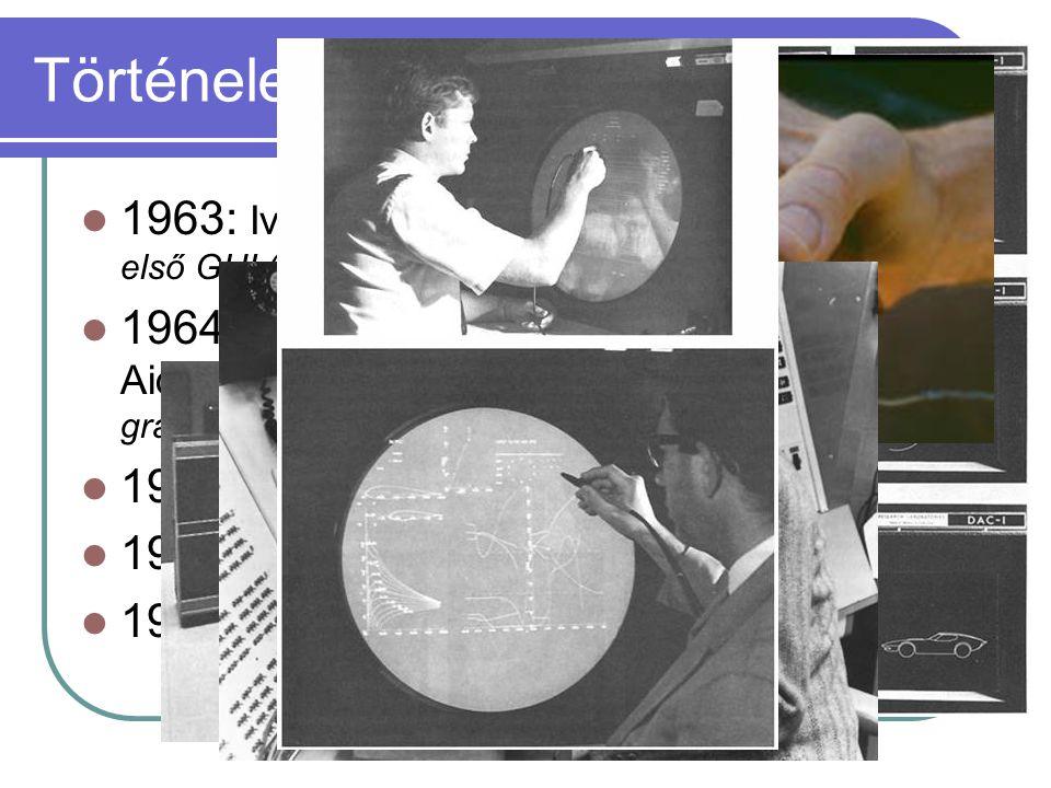 Történelem 1963: Ivan Sutherland – Sketchpad első GUI (Graphical User Interface) 1964: IBM és GM – első CAD (Computer Aided Design) rendszer grafikus konzol, grafikus parancsok, fényceruza 1965: első egér (fából és műanyagból) 1974: Sharp kifejleszti az LCD megjelenítőt 1980: PC-k elterjedése raszter grafikával