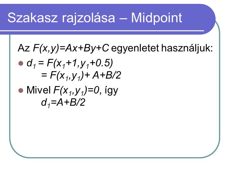Szakasz rajzolása – Midpoint Az F(x,y)=Ax+By+C egyenletet használjuk: d 1 = F(x 1 +1,y 1 +0.5) = F(x 1,y 1 )+ A+B/2 Mivel F(x 1,y 1 )=0, így d 1 =A+B/