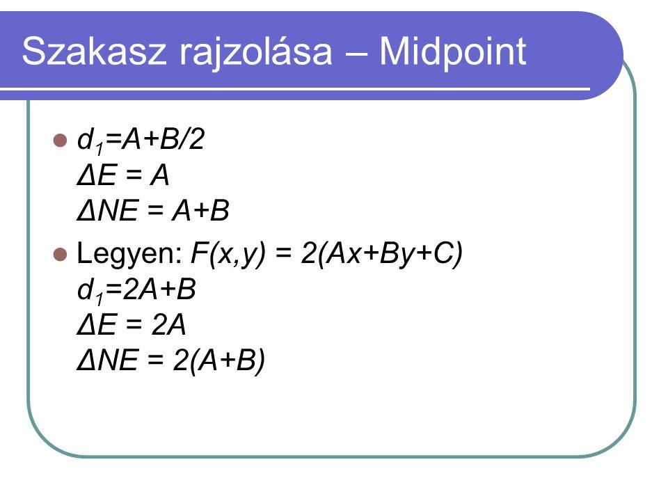 d 1 =A+B/2 ΔE = A ΔNE = A+B Legyen: F(x,y) = 2(Ax+By+C) d 1 =2A+B ΔE = 2A ΔNE = 2(A+B)
