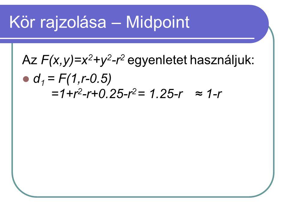 Kör rajzolása – Midpoint Az F(x,y)=x 2 +y 2 -r 2 egyenletet használjuk: d 1 = F(1,r-0.5) =1+r 2 -r+0.25-r 2 = 1.25-r≈ 1-r