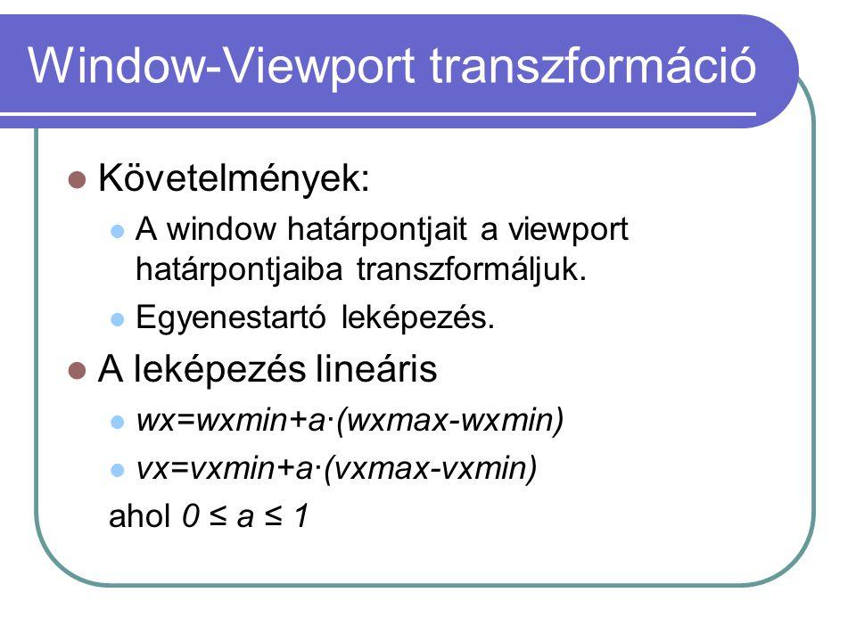 Window-Viewport transzformáció Követelmények: A window határpontjait a viewport határpontjaiba transzformáljuk. Egyenestartó leképezés. A leképezés li