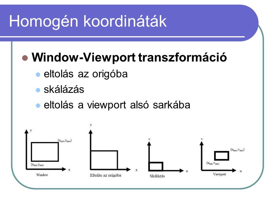 Homogén koordináták Window-Viewport transzformáció eltolás az origóba skálázás eltolás a viewport alsó sarkába