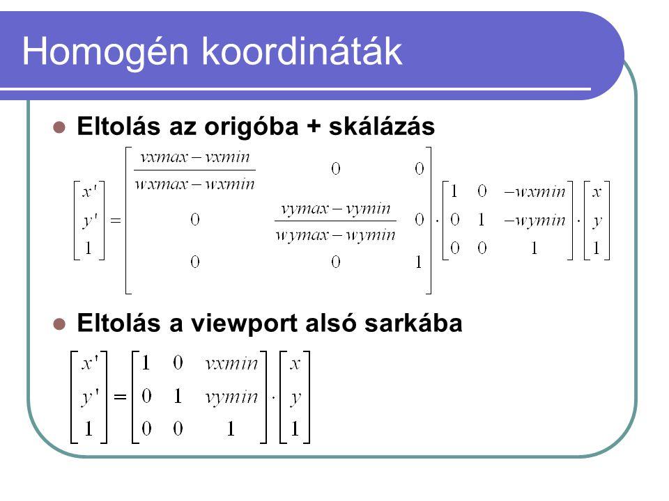 Homogén koordináták Eltolás az origóba + skálázás Eltolás a viewport alsó sarkába