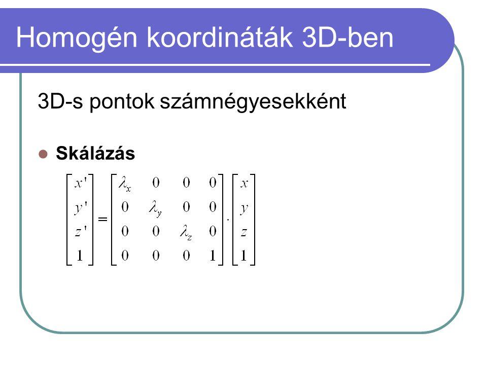 Homogén koordináták 3D-ben 3D-s pontok számnégyesekként Skálázás