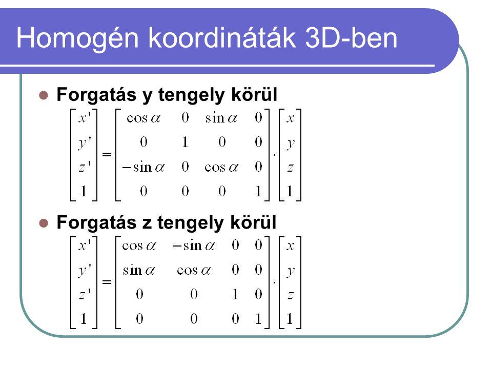 Homogén koordináták 3D-ben Forgatás y tengely körül Forgatás z tengely körül