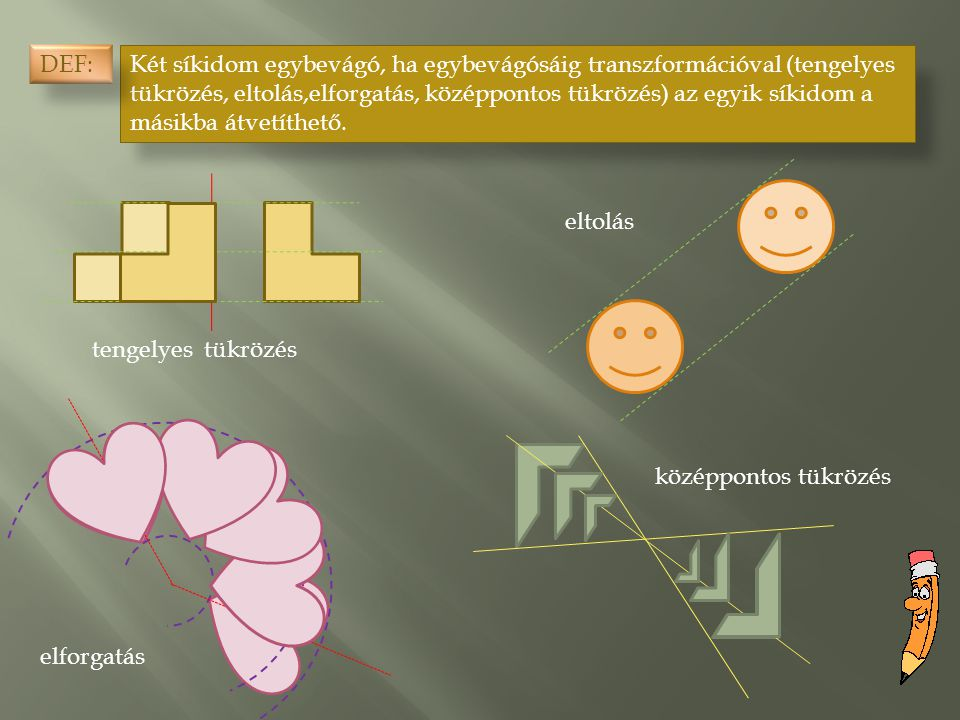 Két síkidom egybevágó, ha egybevágósáig transzformációval (tengelyes tükrözés, eltolás,elforgatás, középpontos tükrözés) az egyik síkidom a másikba át