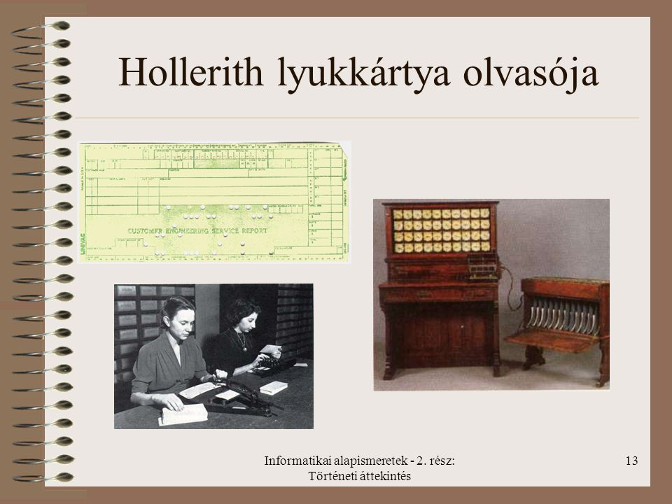 Informatikai alapismeretek - 2. rész: Történeti áttekintés 13 Hollerith lyukkártya olvasója