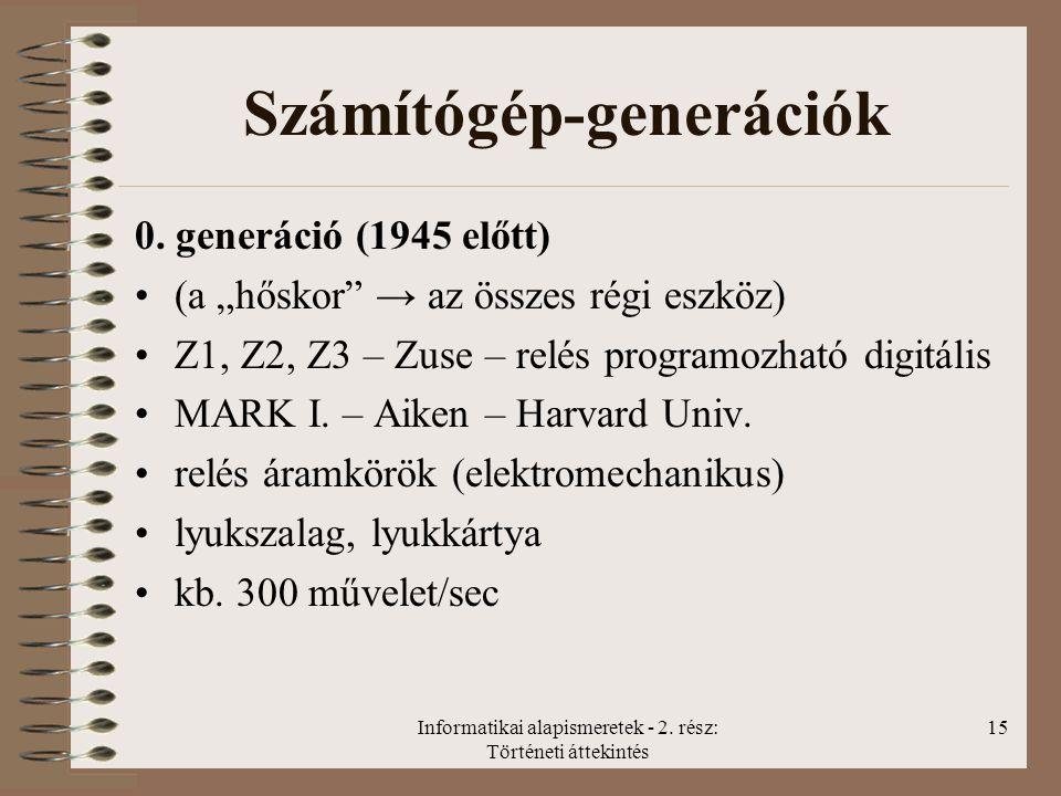 Informatikai alapismeretek - 2.rész: Történeti áttekintés 15 Számítógép-generációk 0.