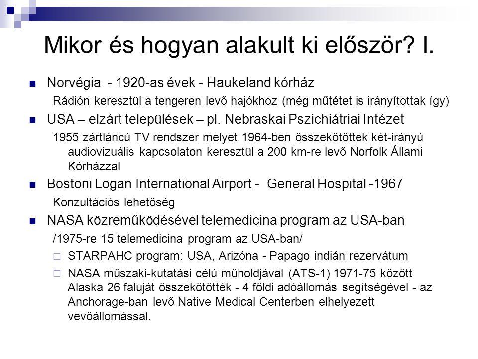 Mikor és hogyan alakult ki először? I. Norvégia - 1920-as évek - Haukeland kórház Rádión keresztül a tengeren levő hajókhoz (még műtétet is irányított