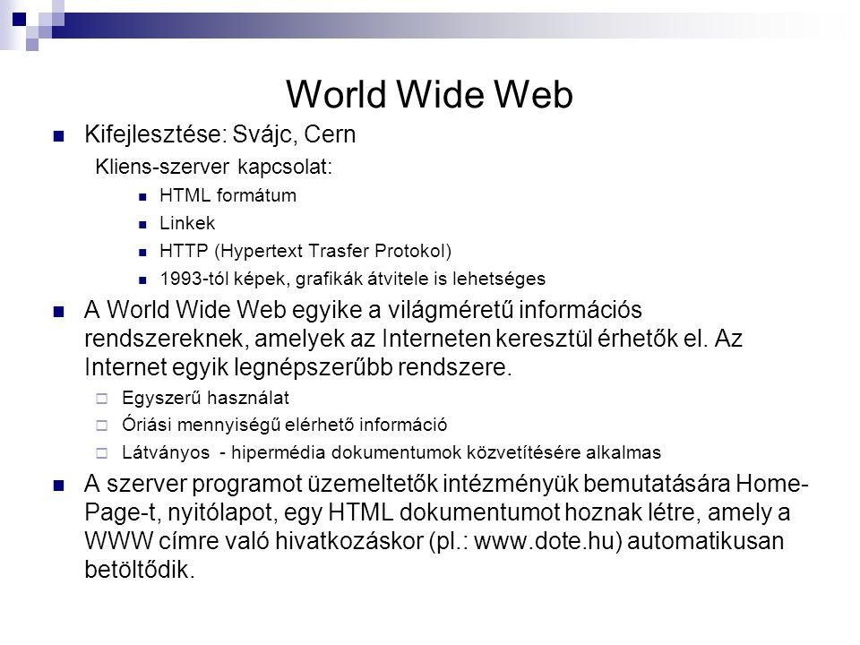 World Wide Web Kifejlesztése: Svájc, Cern Kliens-szerver kapcsolat: HTML formátum Linkek HTTP (Hypertext Trasfer Protokol) 1993-tól képek, grafikák át