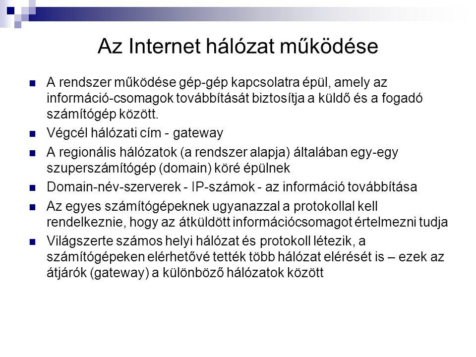 Az Internet hálózat működése A rendszer működése gép-gép kapcsolatra épül, amely az információ-csomagok továbbítását biztosítja a küldő és a fogadó sz